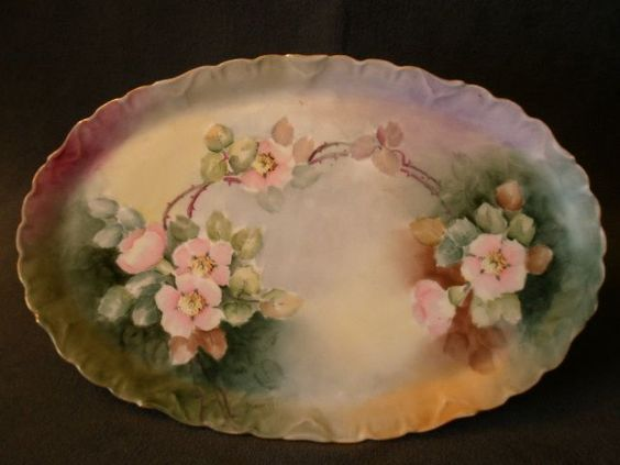 D'Arcy Studio Hand Painted Dresser Tray w/Pastel Pink Wild Roses Motif