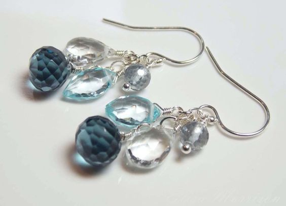 LONDON BLUE QUARTZ SWISS TOPAZ GEM STONE .925 STERLING SILVER DANGLE EARRINGS  #Dangle
