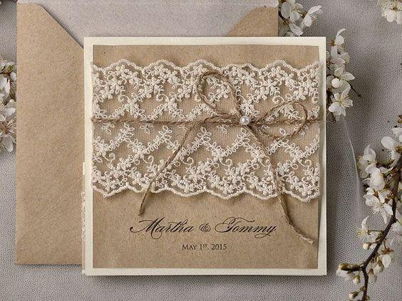 Faire part vintage rustique toile de jute dentelle Lifevents wedding planner cote d'azur