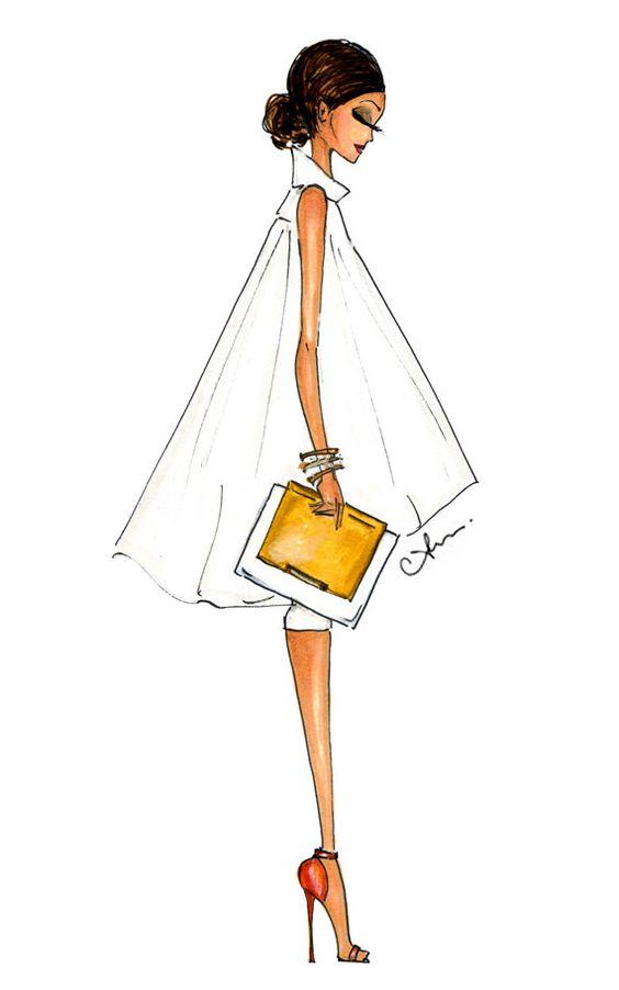 Grabado de la ilustración de moda, Alice + Olivia