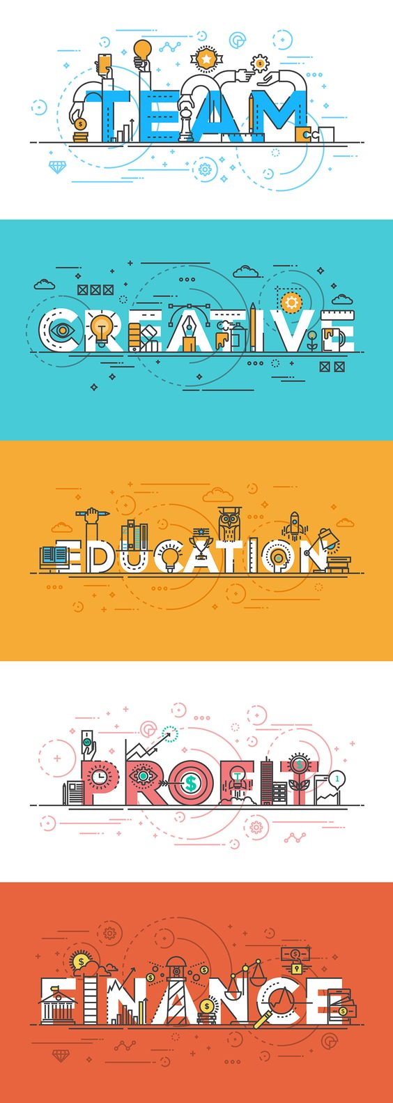 Set of Flat Line Color Banners Design Concept on Behance
