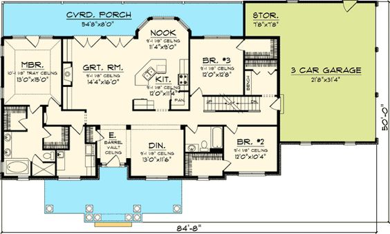 Plan 89821ah 3 bedroom rambling ranch house plans for 3 bedroom floor plans with bonus room