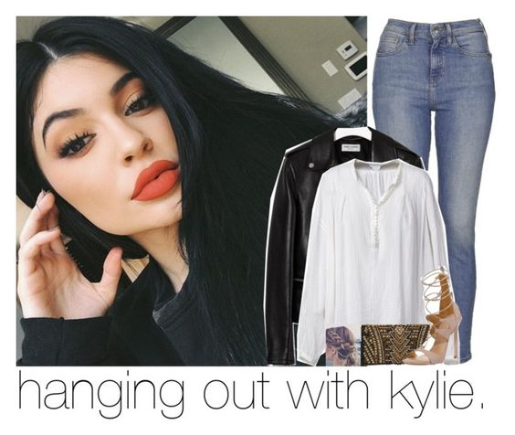 """hanging out with kylie."" by sydneykhall ❤ liked on Polyvore featuring Topshop, Yves Saint Laurent, Faith Connexion, Balmain and Stuart Weitzman"