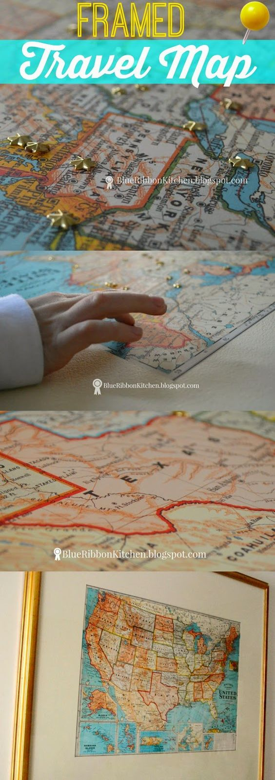 Blue Ribbon Kitchen: Mapping It Out. Make a DIY Travel Map using an old frame and a map. Easy family project.