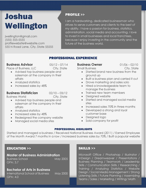 Business Gray Resume Resumes Pinterest - business owner resume
