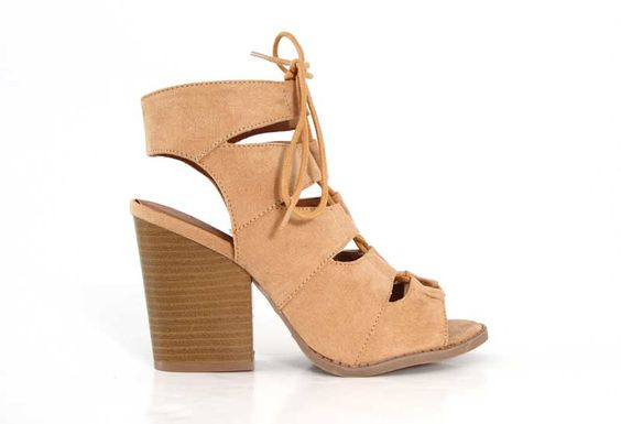 Qupid Shoes Barnes Lace Up Heel Sandals in Toffee