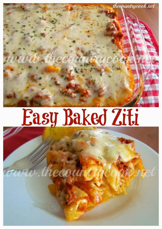 """The Country Cook: Easy Baked Ziti -- Note from Mary Marlene: """"I've fixed this a couple of times and it was easy and delicious. Big hit with my familly. Repinning to favorite recipes"""""""