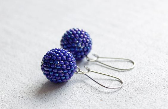 Blue iridescent cobalt earrings beaded beads autumn fall winter