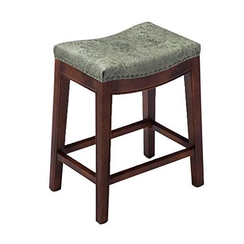 Cylq Backless Counter Bar Stool Solid Wood Saddle Bar Chair Flannel Chair Kitchen Breakfast Vintage Bench 2 Colors Vintage Bench Counter Bar Stools Stool