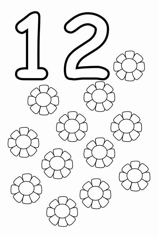 Number 13 Coloring Page Unique Number 12 Worksheets Easy Free Printable Numbers Printable Numbers Numbers Preschool