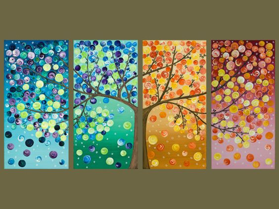 Colorful abstract art original artwork acrylic gift for for Fun acrylic painting ideas