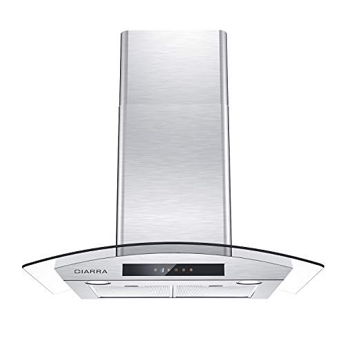 Ciarra Cas75502 Glass Vent Hood 30 Inch Wall Mount Range Hood 450 Cfm Stainless Steel Stove Hood With 3 Speed Exhau Exhaust Fan Ductless Stainless Steel Stove