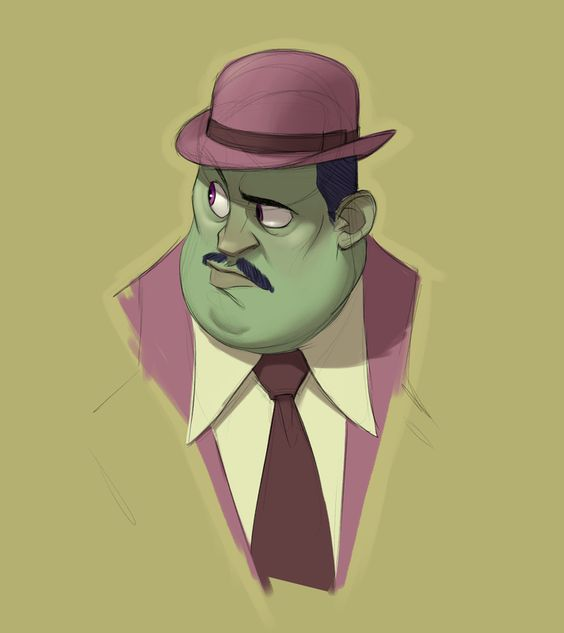 Green face + Al Capone + Purple suit + Hat = Randy Bishop