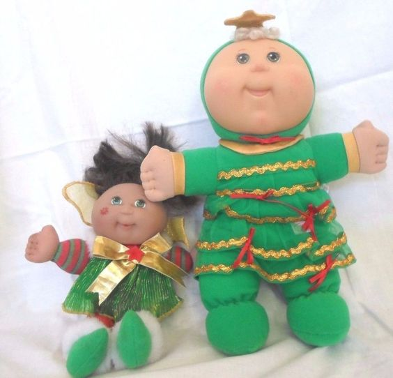 2 Holiday Cabbage Patch Kids Dolls Bean Christmas Tree Outfit & Garden Fairy  #DollswithClothingAccessories