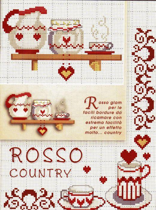Kitchen cross stitch cross stitch jugs glasses tea for Cross stitch kitchen designs
