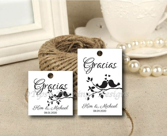 SPANISH Thank You Gracias-Wedding, Bridal Shower, Party Tags, Gift ...