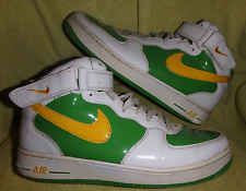 VINTAGE NIKE AIR FORCE 1 WHITE GREEN YELLOW SWOOSH PATENT LEATHER US 10 1/2
