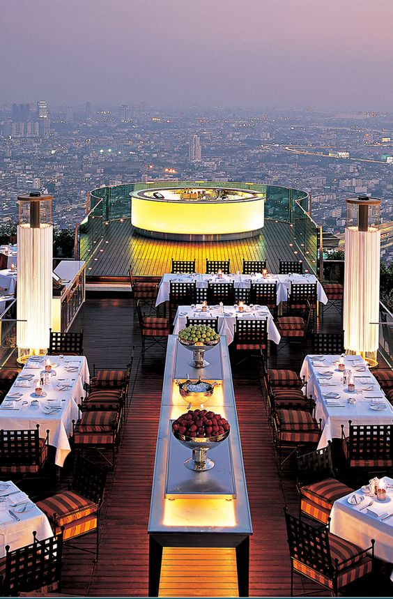 View from the 63rd floor restaurant, Iebua at State Tower, Bangkok …