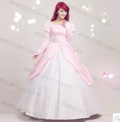 The Little Mermaid princess Ariel Pink Dress Cosplay Costume ...