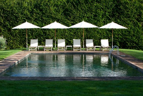 perfect grass around the dark bottomed pool with of course white chairs/umbrellas...looks inviting