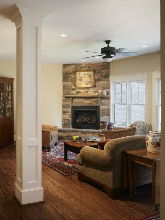 Corner fireplaces fireplaces and columns on pinterest - Corner fireplace living room ideas ...