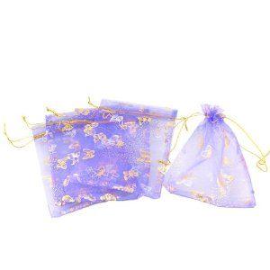 Wedding Gift: Rosallini 5 Pcs Purple Organza Dot Butterfly Pattern Wedding Party Gift Pouch Bag