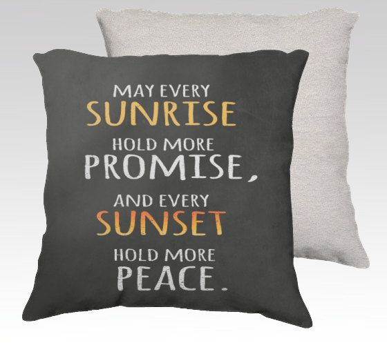 "18"" X18"" Chalkboard Art Pillow Zippered Cover / Case Digital Chalk Textured ""Sunrise and Sunset"" quote in digital chalk on Etsy, £21.16"