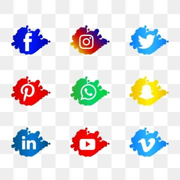 Modern Social Media Logos Icons Watercolor Splash Vector Set Social Icons Media Icons Modern Icons Png And Vector With Transparent Background For Free Downlo In 2021 Instagram Logo Social Media Logos