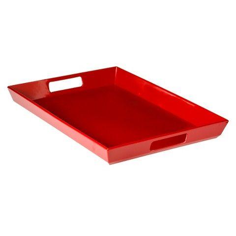 20 - Room Essentials™ Large Handled Melamine Serve Tray Set of 2 - Red