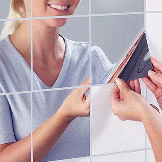 Barato 9 peças/lotes 15 cm * 15 cm adesivo de parede da cozinha de Prata Auto…