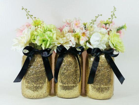 Mason Jar Wedding Centerpieces Black And Gold Centerpieces Birthday Party Decor Graduation