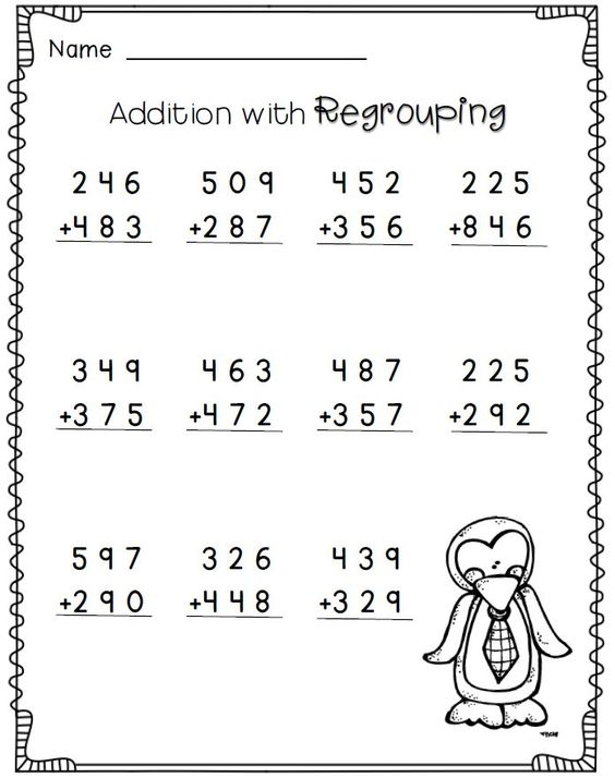 math worksheet : addition with regrouping 2nd grade math worksheets free  i  : Penguin Math Worksheets