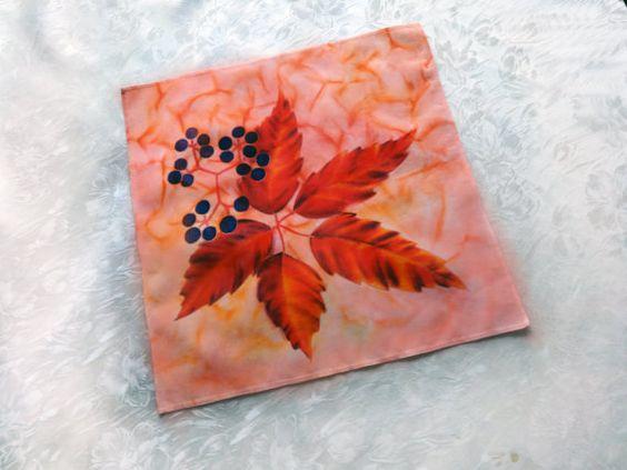 Silk handkerchief Hand painted hankie Painted by WhisperOfSilk