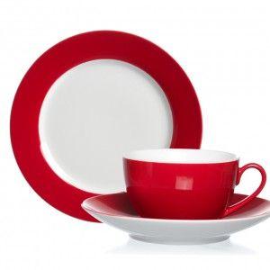 Rotes #Kaffeeservice aus 18 Teilen rund #Geschirr #Porzellan farbenfroh und modern