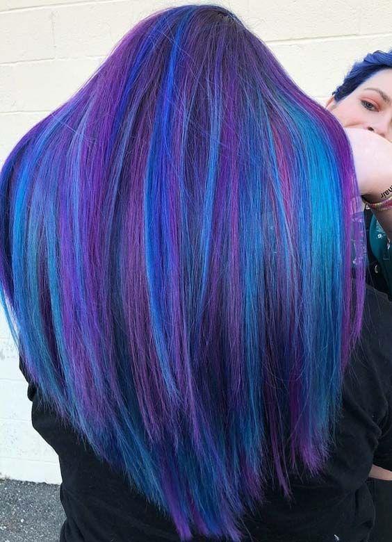 20 Best Blue Highlights For Long Straight Hair For 2018 Stylescue Gekleurd Haar Haar En Schoonheid Haar