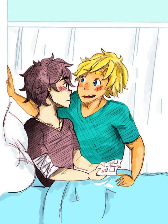 """Solangelo infirmary kiss. Will: """"I fell? Haha ..."""