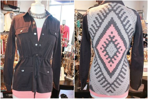 Military style jacket with a beautiful back side. This jacket looks great worn open or buttoned! S-L, $68.00