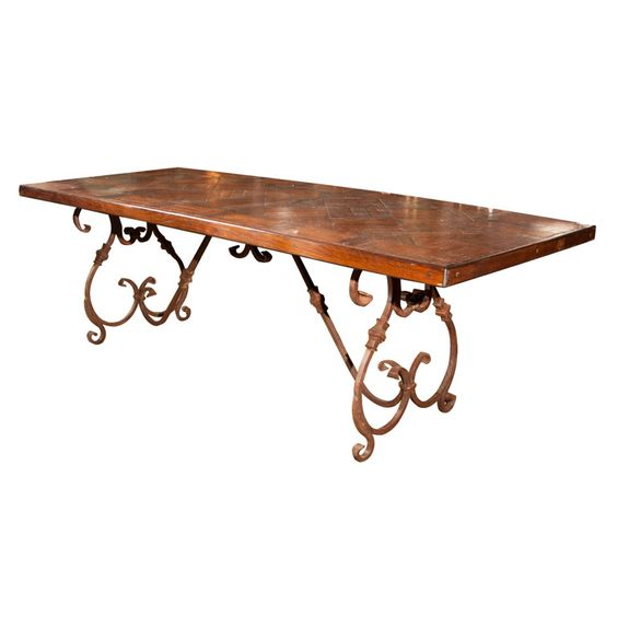 Wrought Iron Wood Dining Table: Wrought Iron Base Wood Top Dining Table
