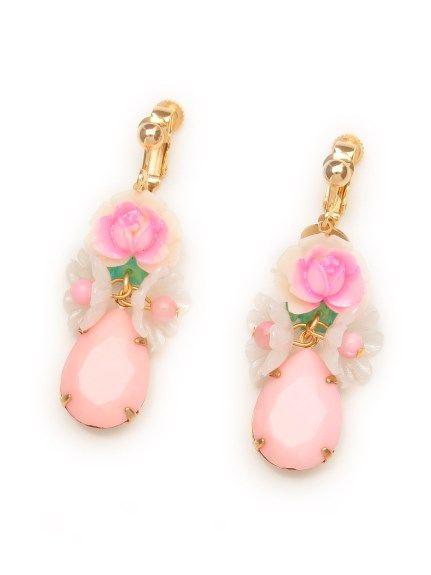 vintage cabochonとbaby pink dropのイヤリング(イヤリング)|Michu coquette(ミチュ コケット)|ウサギオンライン公式通販サイト