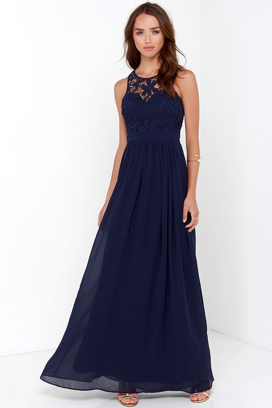 So Far Gown Navy Blue Lace Maxi Dress - Lace maxi- A dress and Maxis