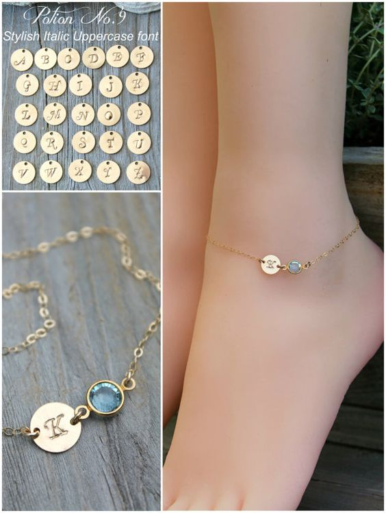 ANKLET personalized ankle bracelet14k gold filled custom