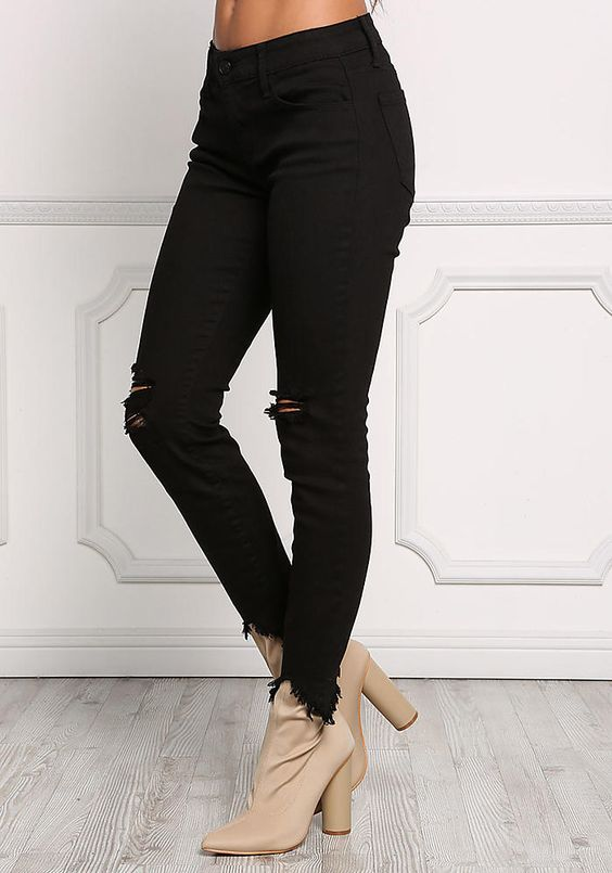 Black Cut Out Frayed Skinny Jeans - Clothes - New | sofia miacova