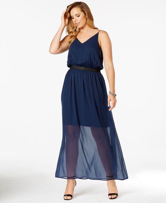Junarose Plus Size Blouson Chiffon Maxi Dress