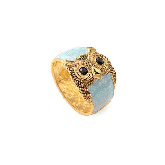 Owl Blue Sky Crystal Vintage Bangle ❤ liked on Polyvore for you @Mandy Pascal