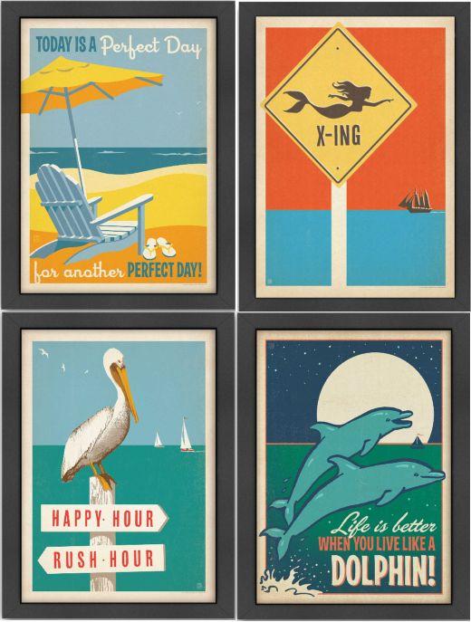 Coastal Vintage Retro Wall Decor Art Illustrations By Anderson Design Group Retro Wall Decor Retro Prints Retro Illustration