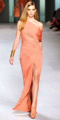 elie saab Ve esto y mas en el blog de moda del momento.. www.tuguiafashion.com: Coral Gown, Fashion Week, Wrap Dress, Peach Dress