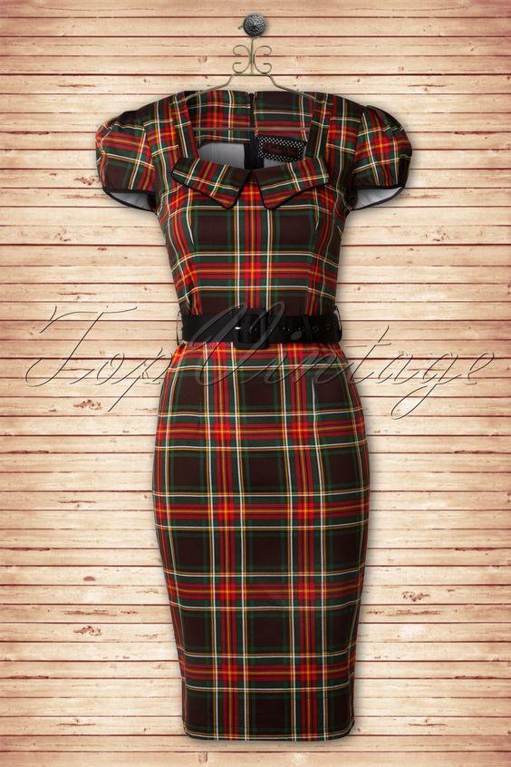 50s Betty Check Pencil Dress