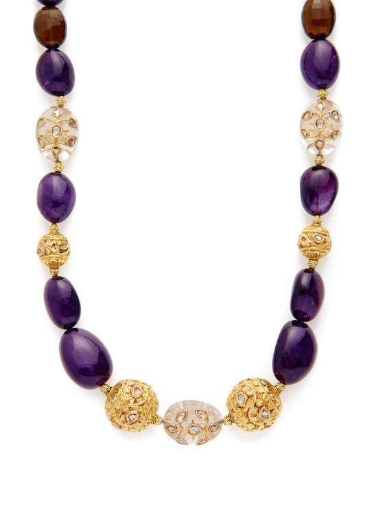 Smoky Quartz & Amethyst Bead Station Necklace from Oscar de la Renta Accessories on Gilt