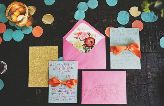 gorgeous pink and turquoise invitation suite by LaHappy styled by #finchandthistle