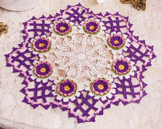 Hoje tem Flor !!!: Centro de mesa primavera em crochê com gráfico